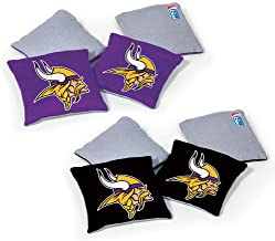 NFL Pro Football Dual Sided Bean Bags by Wild Sports, 8 Count, Premium Toss Bags for Set - Great for Tailgates, Outdoors, ...