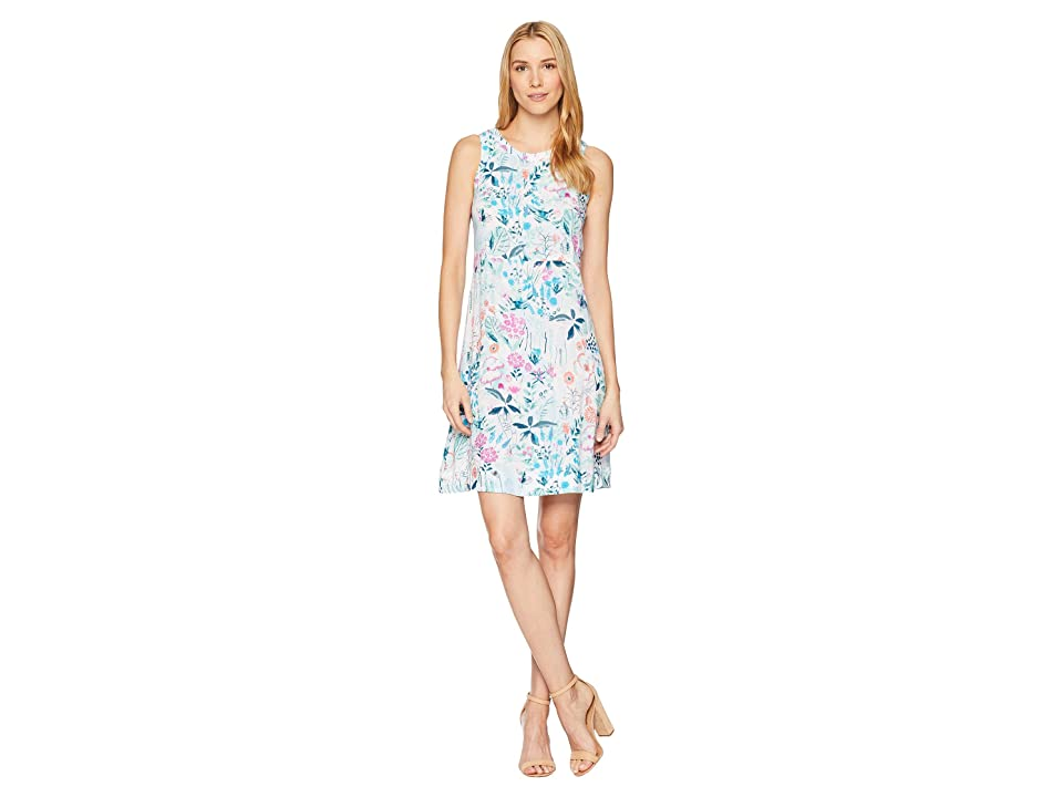 Joules Ava Sleeveless Seamed Dress (Bright White Secret Garden) Women