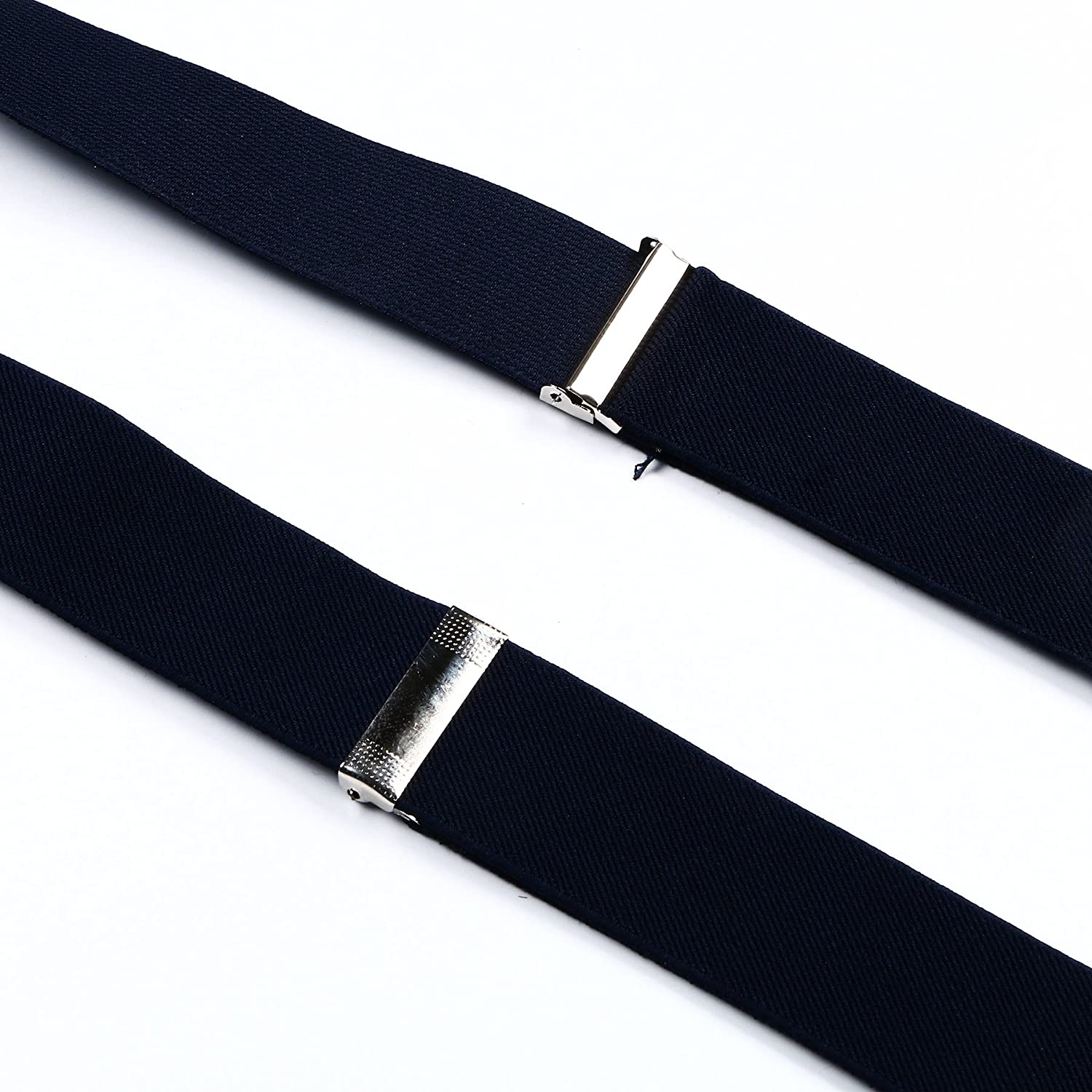Enwis Mens Suspenders Braces Polyester Elastic Button Holes Solid Navy Blue