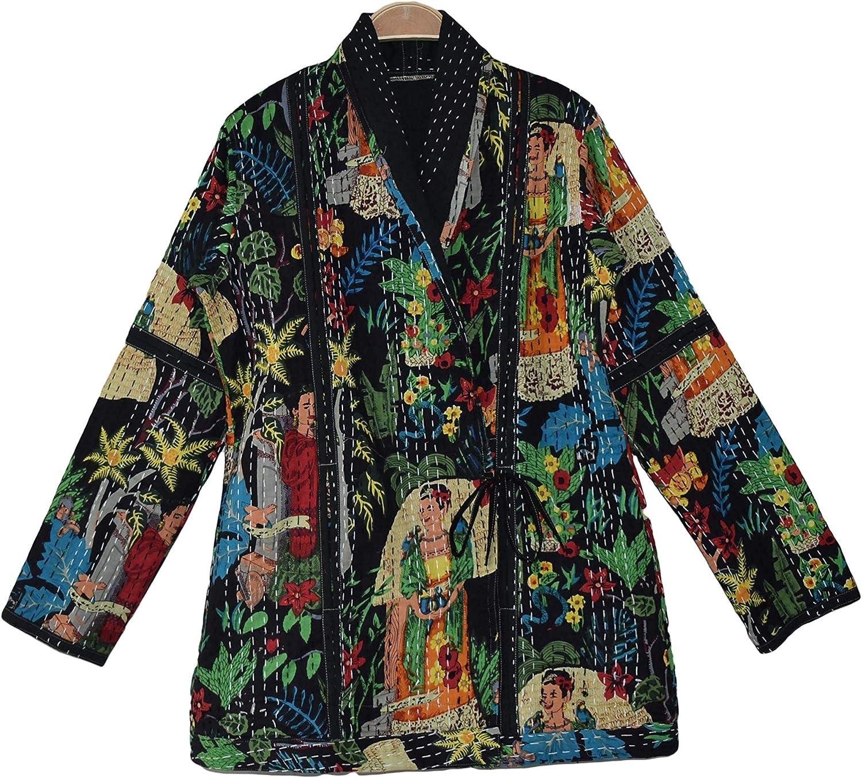 Rajbhoomi Women Kantha Jacket Frida Kahlo Print Cotton Fabric Handmade Quilted