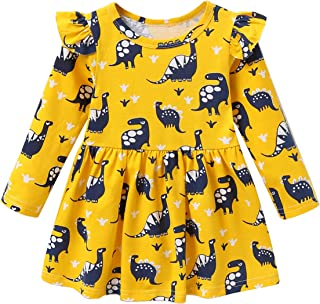 Jeinxcn Toddler Baby Girl Dress Dinosaur Print Skirt Long Sleeve Casual Dress Outfit Clothes 5T Yellow