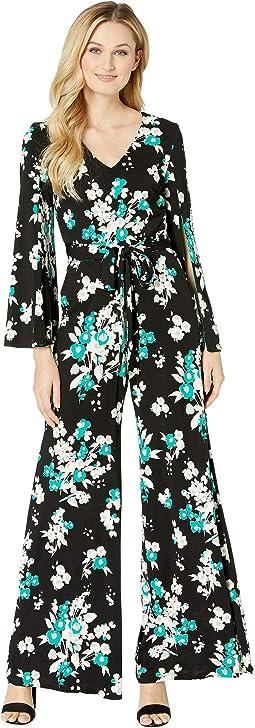 Split Sleeve Tie Sash Floral Print Jumpsuit