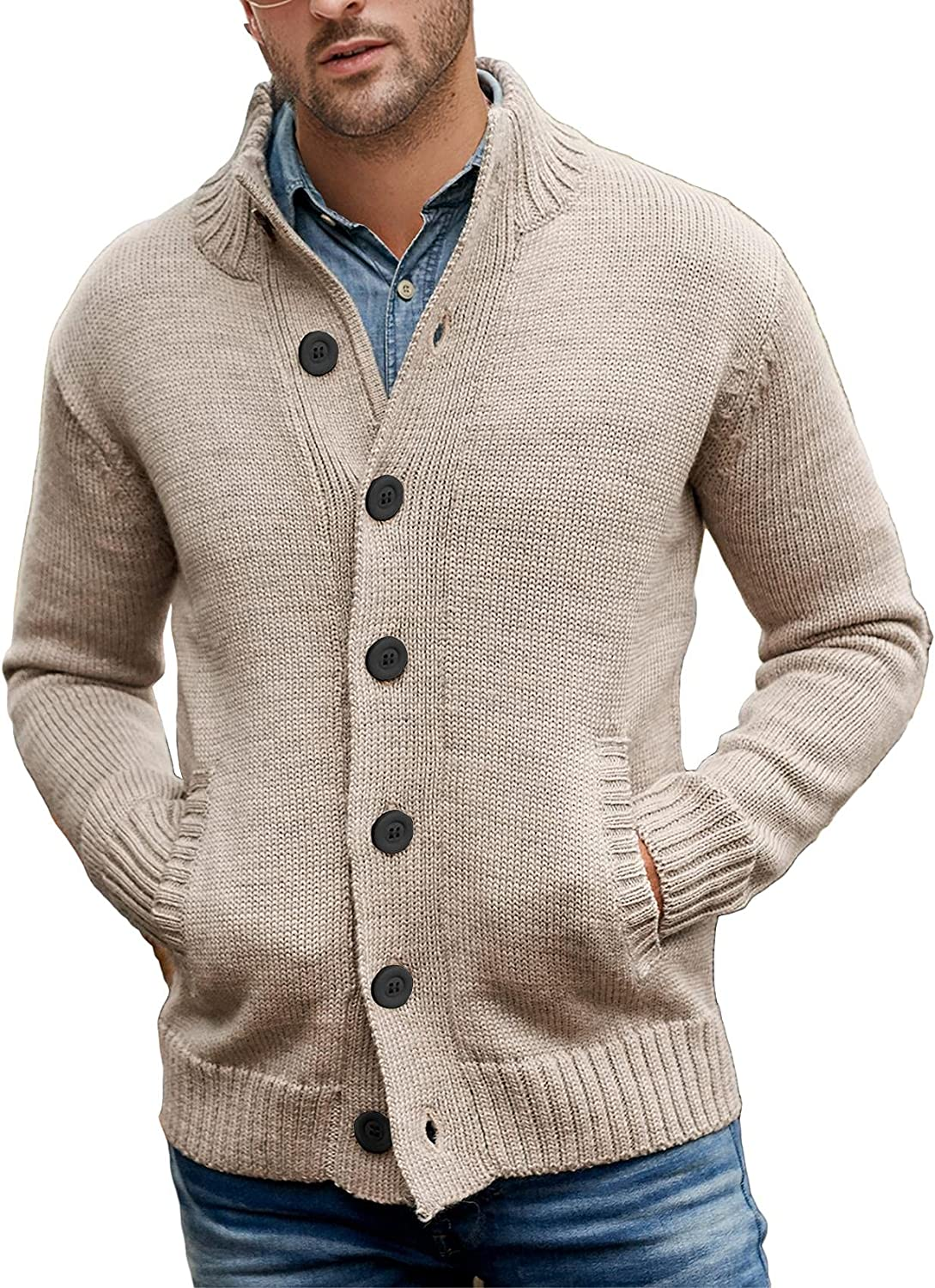 Gafeng Mens Long Sleeve Stand Collar Cardigan Sweaters Button Down Knitted Sweater