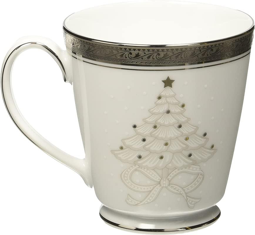 Noritake Crestwood Platinum Holiday Accent Mugs Set Of 4