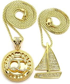 Stone Stud Sailboat & Micro Initials QC Pendant Set w/Box Chain Necklaces, Gold-Tone