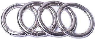(0.75''(1.9cm), Silver) - Bobeey 8pcs Spring O Ring,Round Carabiner Snap Clip Trigger Spring Keyring Buckle,O Ring for Bag...
