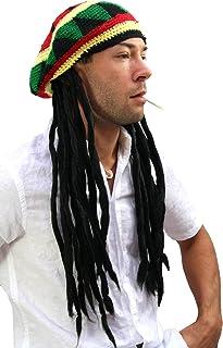 3761f91f96 WIG ME UP ® - Bonnet avec Dreadlocks (Bob Marley, Rastafari)