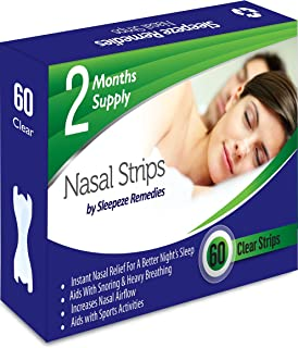Nasal Strips Clear 60 Pack Sleepeze Remedies® | Stop Snoring Nasal Aids Help You Breathe Right | Premium Anti Snoring Nasa...
