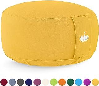 Lotuscrafts Cojin Meditacion Yoga Lotus - Altura 15 cm - Relleno de Espelta - Cubierta en Algodon Lavable- Zafu Meditación - Cojin Suelo Redondo - Cojin Yoga - Meditation Cushion - Certificado Gots