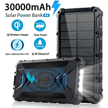 Solar Power Bank 30000mAh, Solar Charger, Qi Wireless Charger, Outputs 5V/3A High-Speed & 2 Inputs Huge Capacity Phone Charger for Smartphones, IP66 Rating, Strong Light LED Flashlights