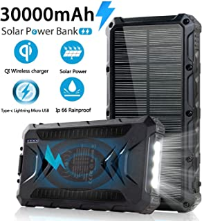 $50 » Solar Power Bank 30000mAh, Solar Charger, Qi Wireless Charger, Outputs 5V/3A High-Speed & 2 Inputs Huge Capacity Phone Charger for Smartphones, IP66 Rating, Strong Light LED Flashlights