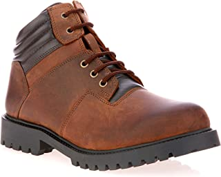Liberty Men's Genuine Leather Lace Up Ankle Boots with 1.25 Inch Heels