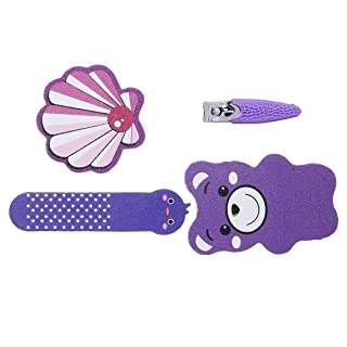Amazon Brand - Solimo Manicure and Pedicure Kit with Nail Clipper and Three Nail Files, Purple, Pack of 4