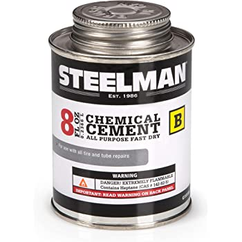 Steelman Chemical Vulcanizing Cement for Rubber Tire and Tube Repairs - 8oz. Fast-Drying, Contains Vulcanization Accelerators, Suitable for Chemical or Heat Vulcanization