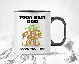Yoda Best Dad, Novelty Gift Sci Fi Yoda Star Wars Inspired Ceramic Coffee Mug, from Son, from Daughter, from Wife – for Dad Birthday, Father's Day, Anniversary Present 11 oz - 15oz Funny Coffee Cup