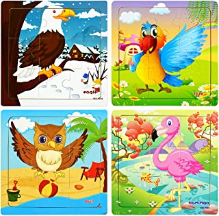 Preschool Wooden Jigsaw Puzzles Set for Kids Age 2-5 Years Old, 4-Pack Beginner Animals Tray Puzzles with an Organza Bag, Easy to Carry for Travel