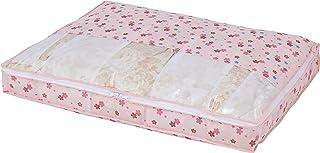 アストロ 収納ケース 羽毛布団用 シングルサイズ ピンク さくら柄 不織布 収納袋 収納ボックス 透明窓付き スリム 薄型 優しく圧縮 197-05