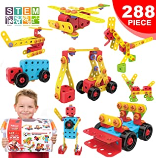 LUKAT STEM Learning Toys Creative Building Toys for 3 4 5 6 7+ Year Old Boys & Girls, Construction Engineering Educational Toy 288 Piece