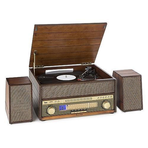 auna Belle Epoque 1909 • Equipo estéreo • Tocadiscos • Accionamiento por correa • 78 rpm • Bluetooth • Radio • Sintonizador FM/MW • Reproductor de CD • AUX • Pletina de cassette • Puerto USB • Café