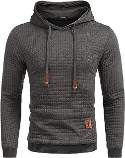 COOFANDY Men's Sweatshirt Hipster Gym Long Sleeve Drawstring Hooded Plaid Jacquard Pullover Hoodies