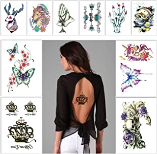 17 pcs Colourful Large Temporary Tattoos Stickers,10 Sheets Waterproof Sweatproof for Back arm Leg Chest Tattoos,Color Butterfly Crown Flowers Skull Unicorn Deer Horror Big Tattoo,for Men Women Teen