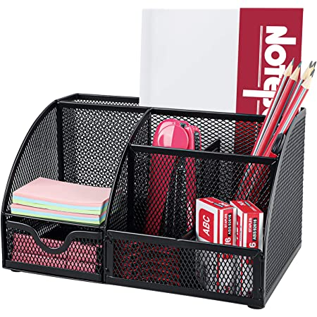 Mesh Desk Organizer Multifunctional Desktop Organizer Office Supplies Holder with 6 Compartments and 1 Drawer for Home Office School Classroom by Pipishell