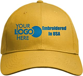 Custom Hat, Embroidered. Your Own Logo. Adjustable Back. Curved Bill