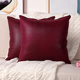 Mandioo Set of 2 Faux Leather Modern Square Throw Pillow Covers Cushion Cases Decorative for Couch Sofa Home Living Room 18 x 18 Inches Red