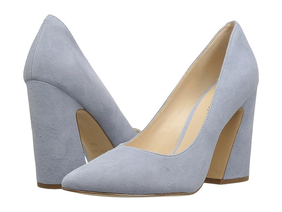 Nine West Henra Block Heel Sandal (Powder Blue Isa Kid Suede) High Heels