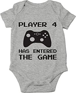 AW Fashions Player 4 Has Entered The Game - Funny New Sibling Announcement - Cute One-Piece Infant Baby Bodysuit