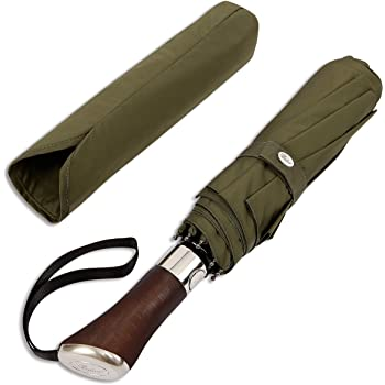 Balios (Designed in UK Travel Umbrella Luxurious Golden Rosewood Handle Auto Open & Close Windproof Frame Single Canopy Automatic Folding Umbrella Men's & Ladies