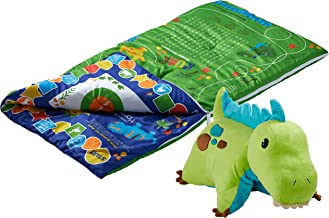 Pillow Pets SlumberPlay Green Dinosaur Sleeping Bag with 15 Games Printed on Bag and Green Dinosaur Combo