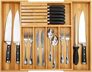 """Bamboo Utensil Organizer Drawer Kitchen, Expandable Cutlery Tray with Divider 