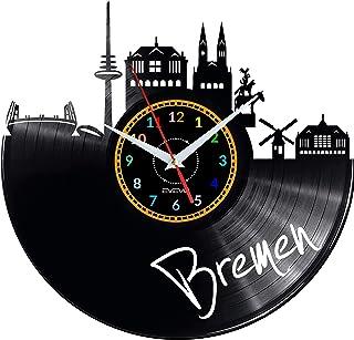 EVEVO EVEVO Bremen Wanduhr Vinyl Schallplatte Retro-Uhr groß Uhren Style Raum Home Dekorationen Tolles Geschenk Wanduhr Bremen