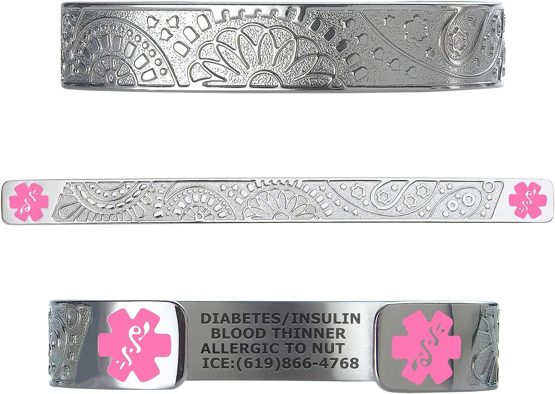 Divoti Custom Engraved Medical Alert Bracelets for Women, Stainless Steel Medical Bracelet, Medical ID Bracelet w/Free Engraving - Fancy Paisley w/ 6