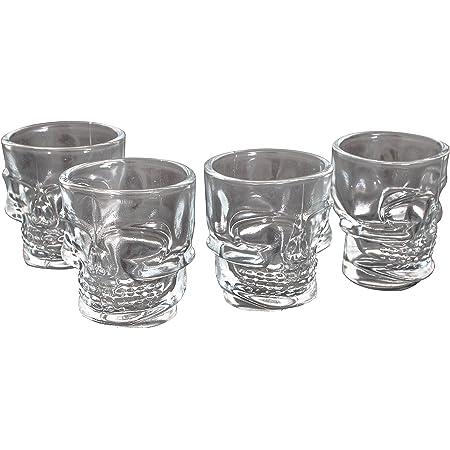 offershop Conjunto Set 4 Vasos Tazas de Cristal con Calavera ...