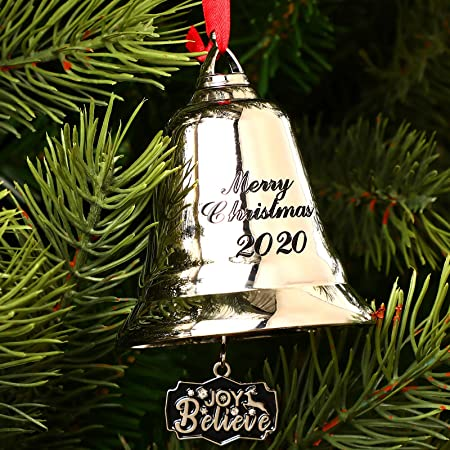 Silver Christmas Bell Ornaments Jingle Bells Pendants,Merry Christmas 2020 Holiday Bells with Gift Box and Red Ribbon Hanging on Christmas Tree Door Wedding Anniversary Decor Silver Bell