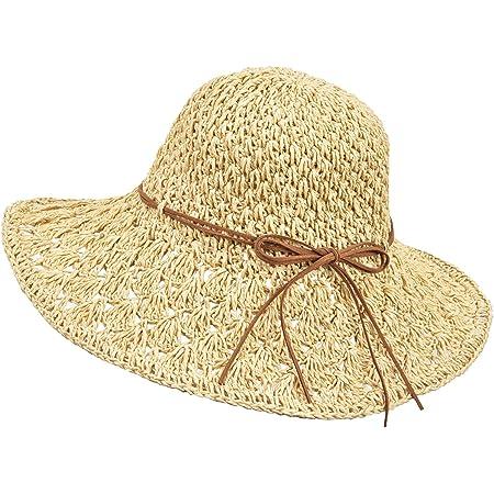 Wilxaw Sonnenhüte Damen Faltbarer, Strohhut Damen Sommer mit Sonnenschutz Breite Krempe 56-58cm, Strandhut UV Schutz für Reise Urlaub, Ultraleicht & Atmungsaktiv