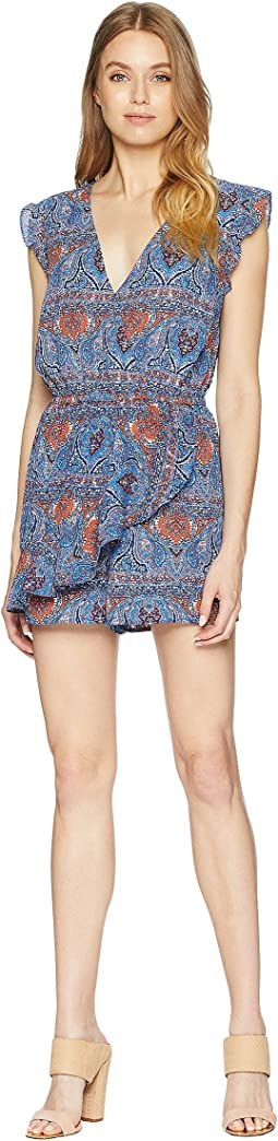 "#1 Stunna ""Blue Dynasty"" Printed Crepe de Chine Wrap Romper"