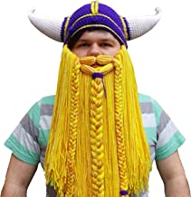 NucLighter Novelty Viking Warrior Helmet with Red Wig Beard Hats Handmade Knit Caps Ski Funny Mask Beanie for Adults