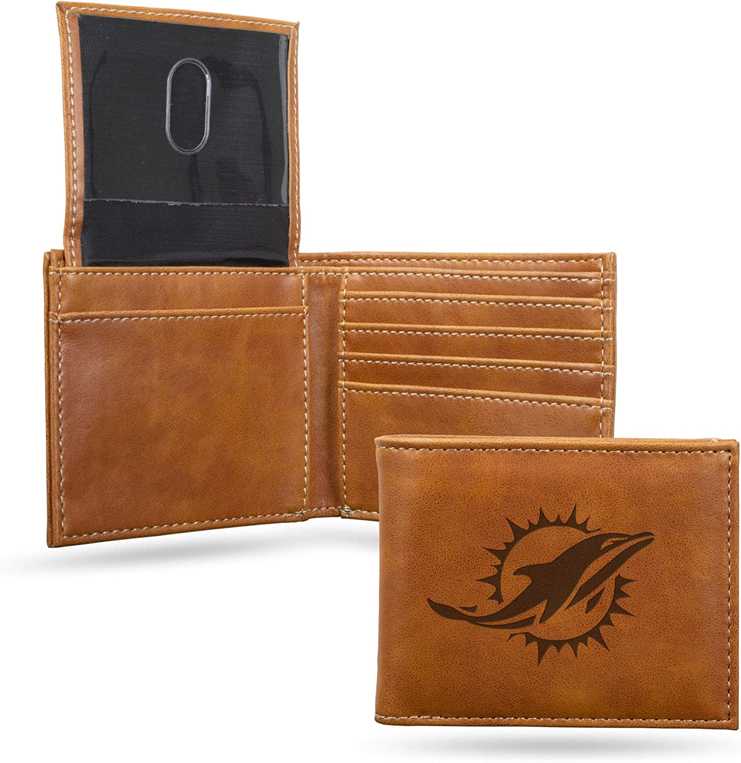 Rico Industries Quality inspection unisex NFL Miami Mail order Billfol Engraved Dolphins Laser