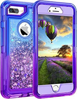 Coolden Case for iPhone 8 Plus Case Protective Glitter Case for Women Girls Cute Bling Sparkle 3D Quicksand Heavy Duty Hard Shell Shockproof TPU Case for iPhone 6s Plus 7 Plus 8 Plus, Blue Purple