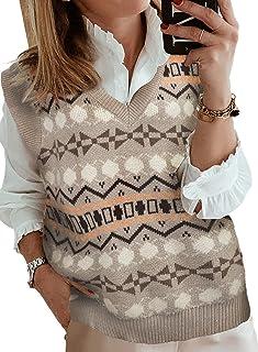 Chaleco de punto para mujer, cuello en V, elegante, vintage, sin mangas, guillotinas, suéteres de punto para otoño (color:...