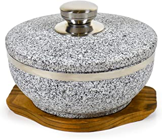 Spiceberry Home Large Granite Dolsot/Haradha Bowl with Lid, 1 Quart