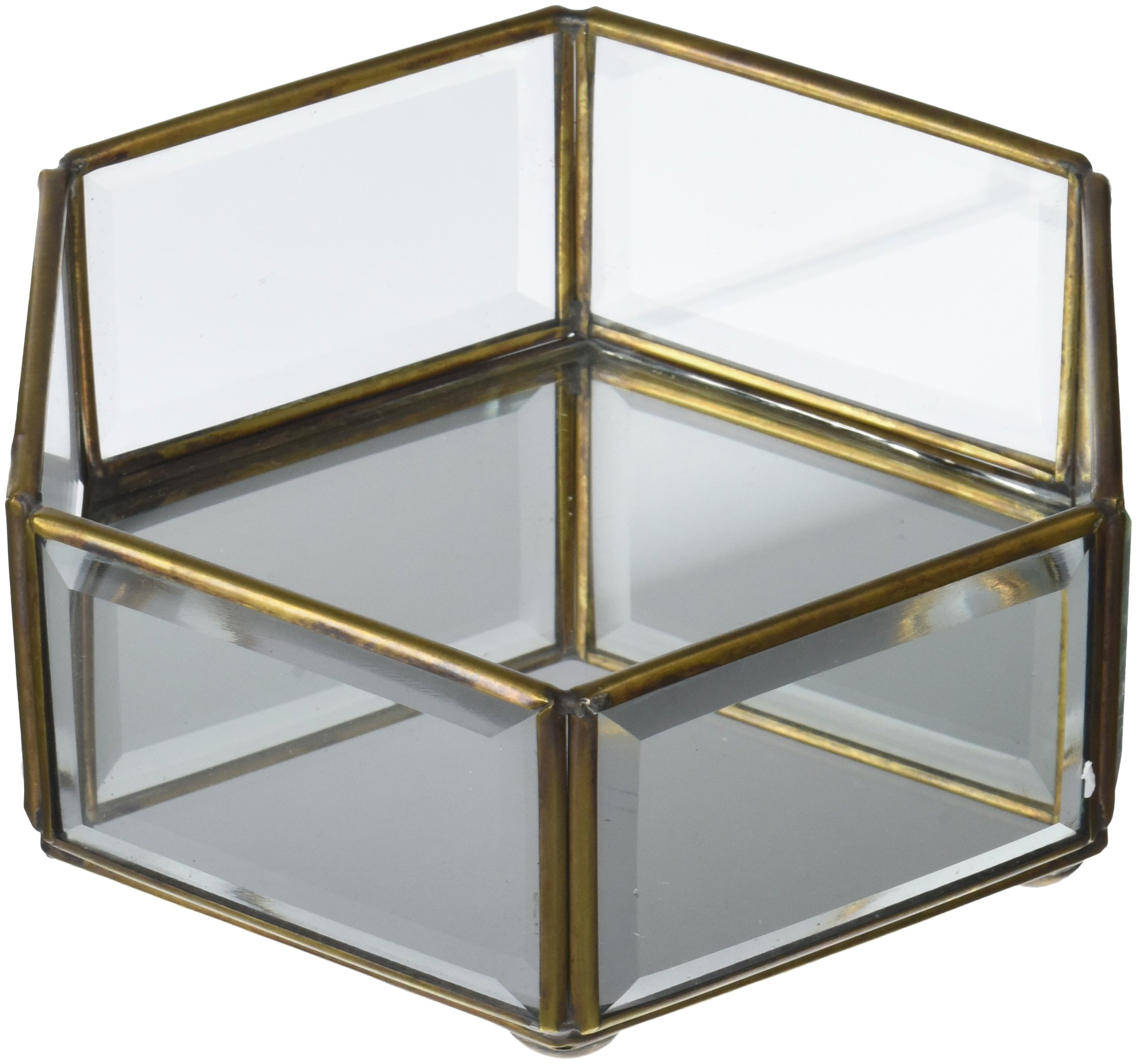 Moycor Caja Hexagonal Cristal, Dorado, 0.45 Kg: Amazon.es: Hogar