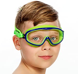 Frogglez Youth Wide View Crystal Clear Swim Goggle Mask with Pain-Free Strap | Ideal for Kids 3-10 in Swimming Lessons