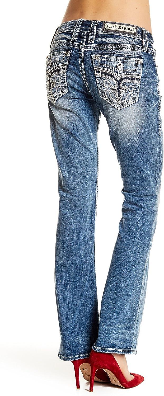 Rock Revival  Womens Anzelie Easy Boot Cut Jeans Denim