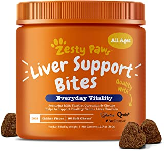 Zesty Paws Liver Support Supplement for Dogs - with Milk Thistle Extract, Turmeric Curcumin, Cranberry & Choline - Natural & Grain Free Soft Chew Formula - for Dog Liver Function & Detox - 90 Count