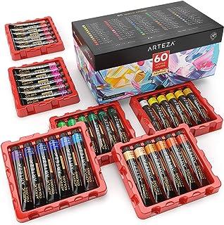 Arteza Coffret peinture acrylique, 60 tubes de couleurs (22ml), Pigments riches, Haute qualité, Non Toxique, Pour artistes...