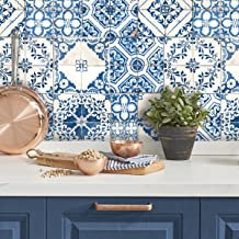 RoomMates RMK11083WP Blue Mediterranian Tile Peel and Stick Wallpaper